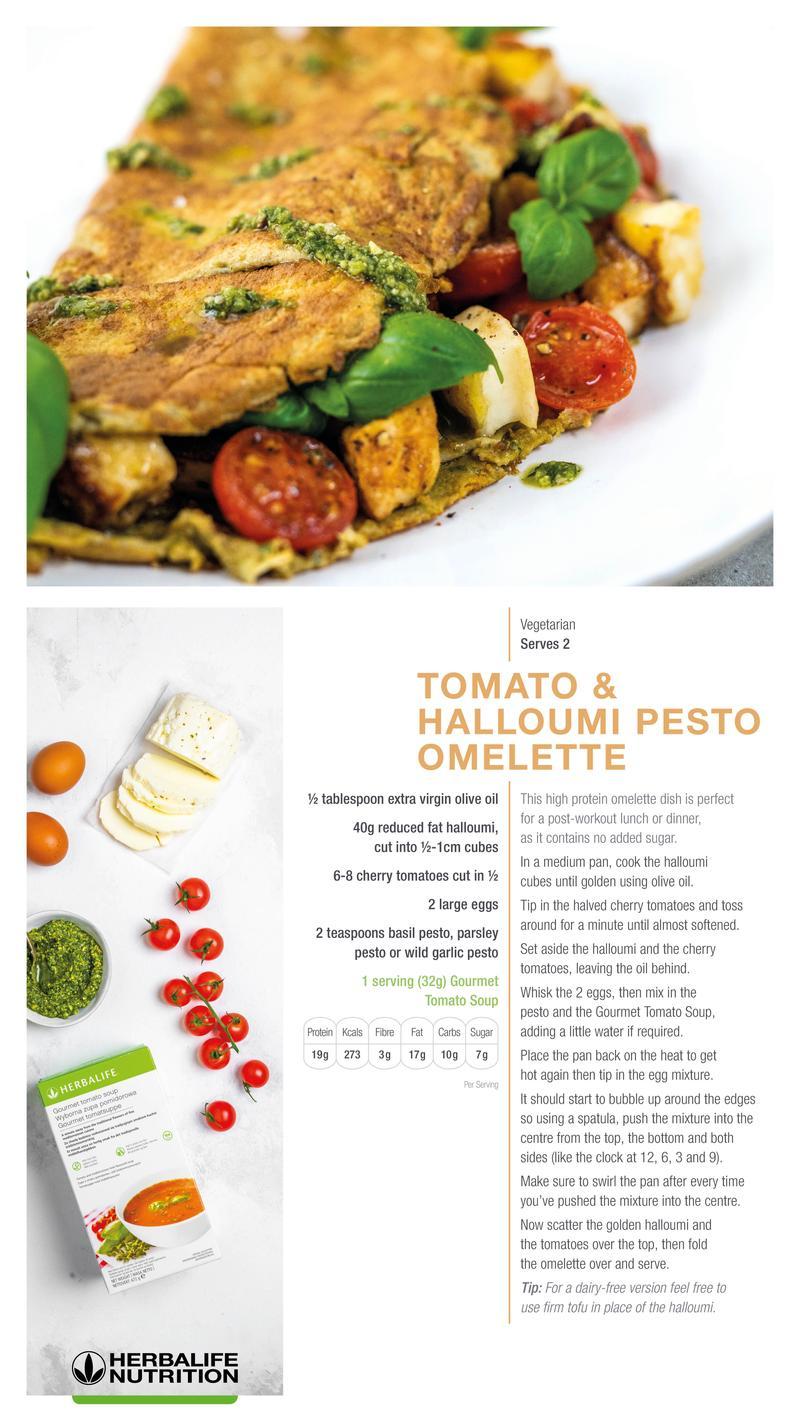Tomato & Halloumi Pesto Omelette